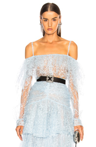 RODARTE Off-the-shoulder lace and tulle top