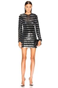 RTA Crystal Striped Sequined Velvet Mini Dress in Black