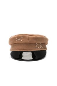 RUSLAN BAGINSKIY WOOL STITCH CAP IN NEUTRALS