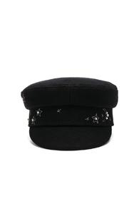 RUSLAN BAGINSKIY WOOL STARS CAP IN BLACK