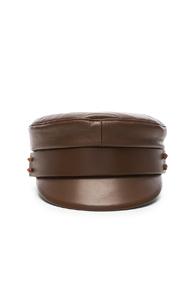 RUSLAN BAGINSKIY LEATHER CAP IN BROWN