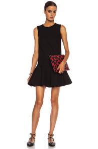 Red Valentino Ruffle Cotton-Blend Dress in Black