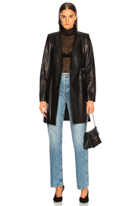 SABLYN RUMOR BELTED LEATHER BLAZER IN BLACK