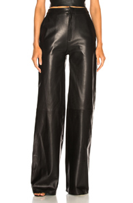 SABLYN JOSEPHINE WIDE LEG LEATHER PANTS IN BLACK