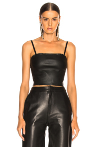 SABLYN MAX LEATHER TUBE TOP IN BLACK
