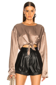 SABLYN ROC KNOTTED SILK TOP IN METALLIC COPPER