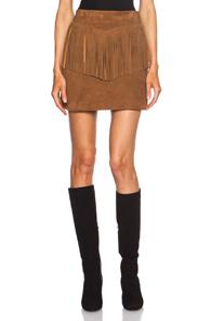 Saint Laurent A-Line Suede Fringe Skirt in Brown