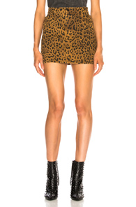SAINT LAURENT LEOPARD PRINT DENIM SKIRT IN ANIMAL PRINT,BROWN