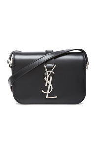 Saint Laurent Small Silver Monogramme Universite Bag in Black
