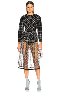 SANDY LIANG ANA DRESS IN BLACK,BLUE,FLORAL