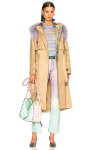 SANDY LIANG LEESI TRENCH COAT WITH LAMB SHEARLING IN BROWN