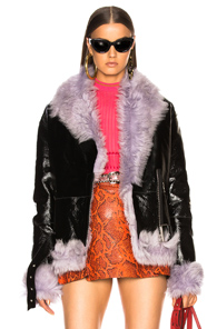 SANDY LIANG BOWERY MOTO JACKET WITH LAMB SHEARLING IN BLACK