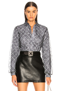 SANDY LIANG TONEY TOP IN BLACK,CHECKERED & PLAID,FLORAL,WHITE