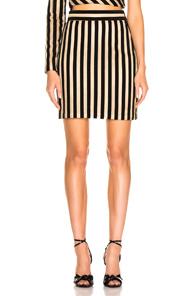 Sandra Mansour Tempete Du Desert Mini Skirt In Black,Stripes,Metallic