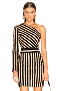 Sandra Mansour Tempete Du Desert One Shoulder Blouse In Black,Stripes,Metallic