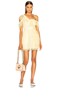 SELF-PORTRAIT CIRCLE FLORAL LACE FRILL MINI DRESS IN YELLOW