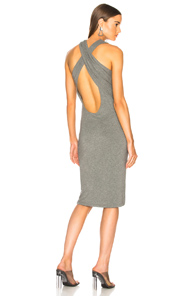 T BY ALEXANDER WANG CRISSCROSS DRAPE DRESS IN GREY