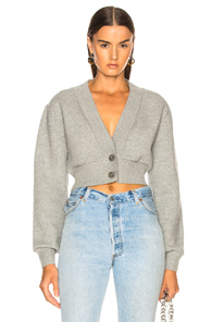 T BY ALEXANDER WANG CROPPED CARDIGAN IN GREY