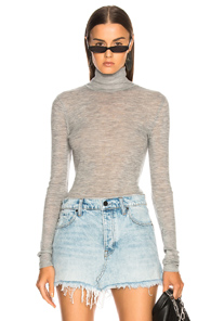 T BY ALEXANDER WANG FITTED TURTLENECK SWEATER IN GREY