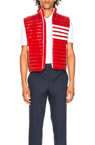 THOM BROWNE 4 BAR STRIPE DOWNFILL QUILTED VEST IN RED,WHITE
