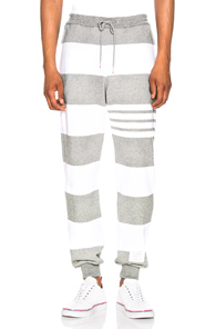 THOM BROWNE CLASSIC SWEATPANTS IN GRAY,STRIPES,WHITE