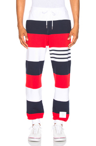 THOM BROWNE CLASSIC SWEATPANTS IN BLUE,RED,STRIPES,WHITE