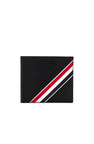 THOM BROWNE PEBBLE GRAIN AND CALF LEATHER BILLFOLD IN BLACK
