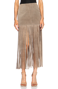 ThePerfext Mimi Fringe Suede Skirt in Gray,Neutrals