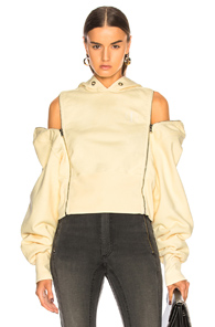 TRE ZIP OFF SLEEVE HOODIE IN YELLOW