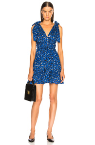 ULLA JOHNSON DUETTE DRESS IN BLUE,FLORAL