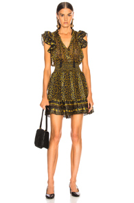 ULLA JOHNSON NYSSA DRESS IN BLACK,FLORAL,YELLOW
