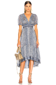 ULLA JOHNSON EVANIA DRESS IN BLUE,FLORAL