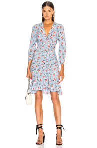 VERONICA BEARD ROWE DRESS IN BLUE,FLORAL