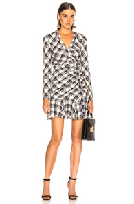 VERONICA BEARD ROWE DRESS IN BLUE,CHECKERED & PLAID,WHITE