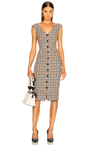 VERONICA BEARD LARK DRESS IN BROWN,CHECKERED & PLAID,NEUTRALS