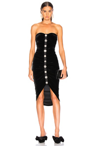 Palo Strapless Ruched Velvet Button-Front Cocktail Dress in Black