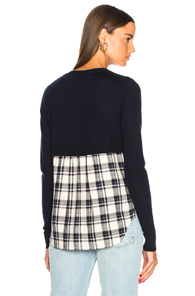 VERONICA BEARD GEMMA SWEATER IN BLUE,CHECKERED & PLAID