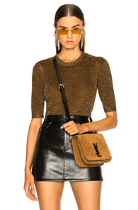 VERONICA BEARD UMA SWEATER IN BROWN,METALLICS
