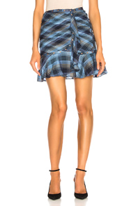 VERONICA BEARD PARRIS SKIRT IN BLUE,PLAID