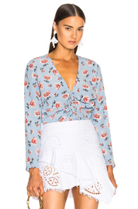 VERONICA BEARD MAISLE BLOUSE IN BLUE,FLORAL