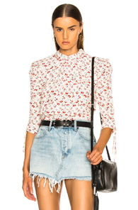 VERONICA BEARD HOWELL BLOUSE IN FLORAL,RED,WHITE