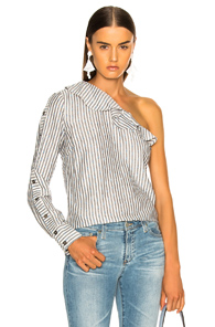 VERONICA BEARD LUISA SHIRT IN BLUE,STRIPES,WHITES