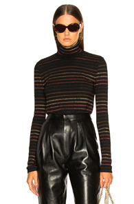 VERONICA BEARD AUDREY TURTLENECK IN BLACK,METALLIC,STRIPES