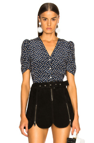 VERONICA BEARD GARLAND TOP IN BLUE,BLACK,FLORAL