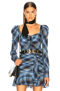 VERONICA BEARD FRANKIE TOP IN BLUE,PLAID
