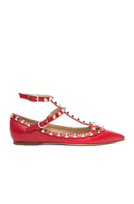 Valentino Rockstud Leather Cage Flats in Red