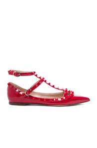 Valentino Rockstud Punkouture Patent Ballerina Flats in Red