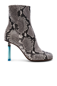 VETEMENTS PYTHON EMBOSSED ANKLE TOE BOOTS IN GRAY,ANIMAL PRINT