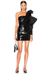 ZEYNEP ARCAY Zeynep Arcay For Fwrd Mini Leather Organza Flare Dress In Black