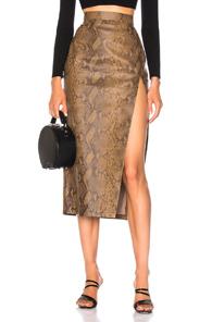 Zeynep Arcay For Fwrd Snake Skin Print Leather Midi Skirt In Animal Print,Brown